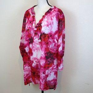 Avenue Plus Size Pink Floral Tunic Shirt Size 18